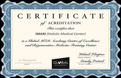Сертификат за акредитация на Imani Care